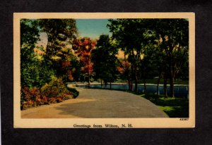 NH Greetings From Wilton New Hampshire Linen Postcard Roadway