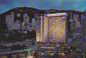 Hong Kong Hilton Hotel at Night