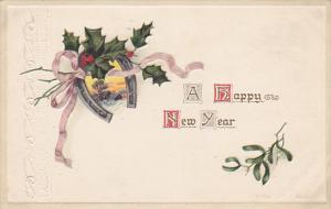 Happy New Year Horseshoe with Holly 1916