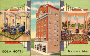 Mississippi Natchez The Eola Hotel Showing Main Lobby and Palm Room 1939