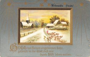 Christmas~Shepherd Herds Sheep Through Village~Gold Leaf Stars~Embossed~Germany