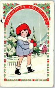 Vintage Whitney CHRISTMAS GREETINGS Postcard Girl Walking in Snow 1929 Cancel