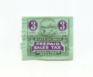 State of OHIO Prepaid Sales Tax Consumer's Receipt Vintage