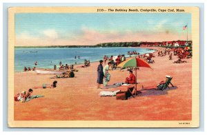 1942 Craigville Cape Cod MA Postcard The Bathing Beach People Sunbathing