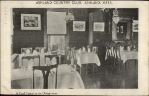 Ashland MA Country Club Dining Room c1910 Postcard