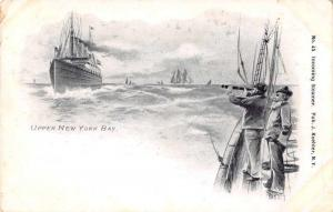 Upper New York Bay Incoming Steamer Scenic View Antique Postcard J77510