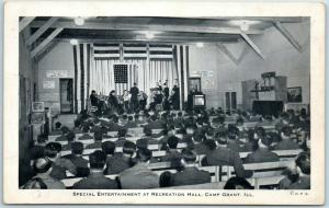 1943 Rockford IL Postcard CAMP GRANT Special Entertainment at Rec Hall WWII