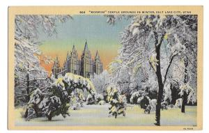 Salt Lake City Utah Mormon Temple Winter Snow  Vintage Linen Postcard
