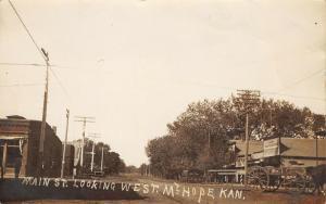 Mt Mount Hope Kansas~Main Street West~Ideal Restaurant~Feed Store~1909 RPPC