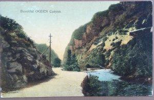 Old Postcard Ogden Canyon Utah 1908, Nature Scene