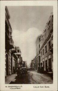 Barranquilla Colombia Calle san Blas c1915 USED Real Photo Postcard