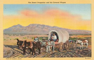 Postcard The Desert Prospector and his Covered Wagon Unposted FPC.