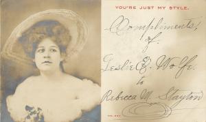 Vintage Real Photo Postcard~Leslie Wolfe in Wide Hat~Off Shoulder Gown~1905 RPPC