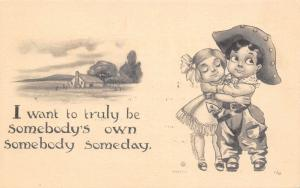 Bernhardt Wall~Lil Cowboy Hugs Cowgirl~Want to Be Somebody's Own Someday