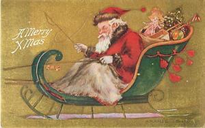 Santa - A Merry XMass Divided Back Postcard Christmas