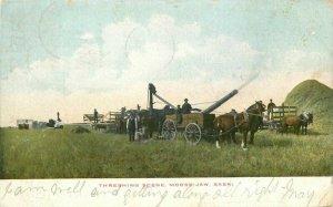 Farm Agriculture Sask Canada Threshing Scene 1906 Postcard Gage 12346