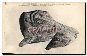 Old Postcard Les Eyzies Bison Sculpt wooden reindeer the epoch Magdalenian ma...