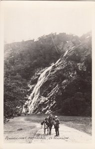 P1873 old ireland RPPC man & horse and wagon powerscourt waterfall, co wicklow