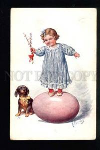 040859 EASTER Girl & DACHSHUND by FEIERTAG vintage