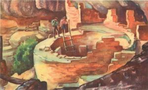 Arizona Kiva Cliff Palace Mesa Verde National Park 1948 Postcard 2511
