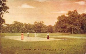 Campbell's Island Illinois~Tennis Court~Victorian Ladies Playing Tennis~c1910 Pc