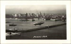 Goodyear Good Year Blimp Over Miami FL c1930s-40s Real Photo Postcard