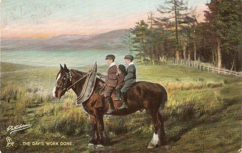 Boys on horse.The day'sworlk don Tuck photochrome A Scotish farm series PC #