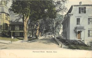 1901-1907 Hand-Colored Postcard; Fairmount Street Scene Norwich CT New London Co