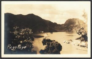 American Samoa Pago Pago Harbor Real Photo Postcard c.1930s