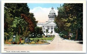 Fresno, California Postcard Court House Park Courthouse Building View Curteich