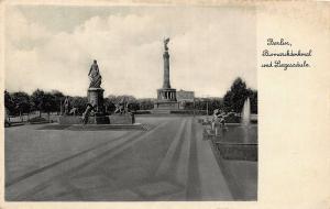Germany Berlin Bismarckdenkmal und Siegessaule Fountain Statue Monument Postcard