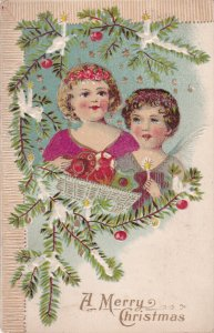 CHRISTMAS ; 2 kids & Christmas tree , PU-1909