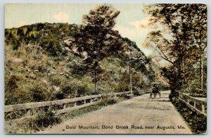 Augusta Maine~Bald Mountain~Horse Buggy on Bond Brook Road~c1910 Postcard