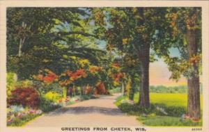 Wisconsin Greetings From Chetek With Road Scene 1951