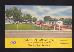 BOWLING GREEN KENTUCKY BAKER HILL MOTOR COURT MOTEL ADVERTISING POSTCARD