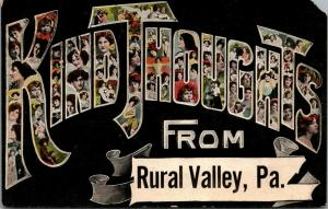 Kind Thoughts from Rural Valley Pennsylvania~Large Letter Divided Back PC~1908