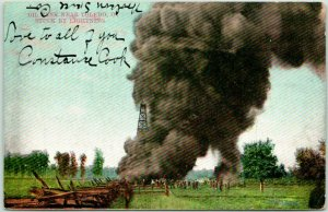 Toledo, Ohio Postcard Oil Tank Struck by Lightning / 1907 Cancel