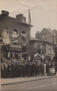 Protest Match Gathering at Liberal Politics Club Antique Real Photo Postcard
