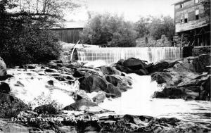 THETFORD CENTER VERMONT~THE FALLS-COVERED BRIDGE REAL PHOTO POSTCARD **NOTE