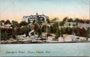 Belvidere Hotel Parry Sound Ontario ON c1907 Antique Postcard D38