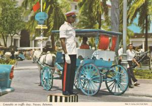 NASSAU, Bahamas, 1950-1970´s; Constable On Traffic Duty, Horse Carriage