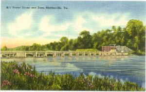 Power House and Dam, Martinsville, Virginia, VA, Linen