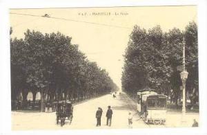 Le Prado, Tree-lined Street, Streetcar, Horse-drawn Carriage, Marseille, Fran...