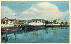 Vintage Postcard; Cross-Channel Steamers at Belfast Northern Ireland Unposted