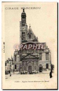 Paris Postcard Old Church of Saint Etienne du Mont (advertising Waxing Marcerou)