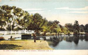 Almonesson Lake New Jersey~Boy Standing on Bridge Rail~Man Fishing~c1910 PC
