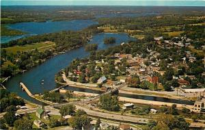 Lakefield Ontario~Aerial View~Bridge~Homes~Business~Hotels~Harbor~1960s