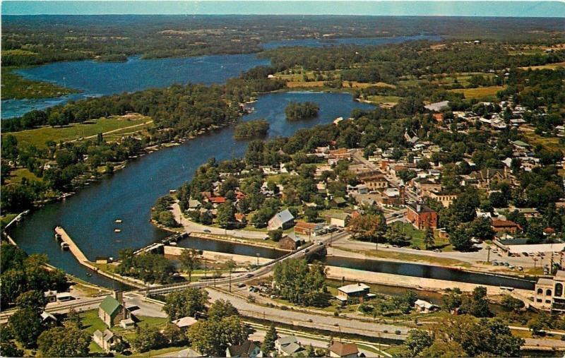 Lakefield Ontario~Aerial View~Bridge~Homes~Business~Hotels~Harbor~1960s