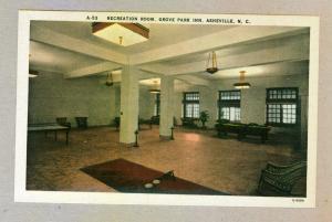 Recreation Room, Grove Park Inn, Asheville, North Carolina unused linen Postcard