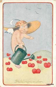 c1910 Fantasy Nude girl Watering Can Hearts Valentine Fruhlingszauber Kunstler
